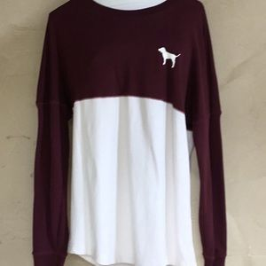 PINK by VS burgundy and cream sweatshirt